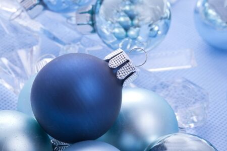 blue shiny christmas balls with ice crystal decoration Stock Photo - 15311178