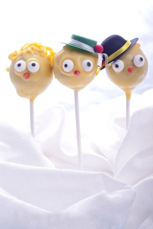 sweet yellow cakepops for children birthday party photo