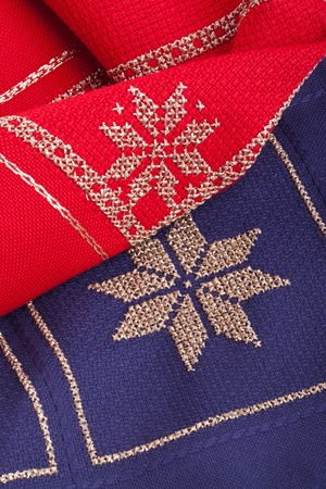 blue and red Christmas quilt and embroidery needle Stock Photo