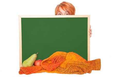 young woman with chalkboard apel, pear and scarf photo