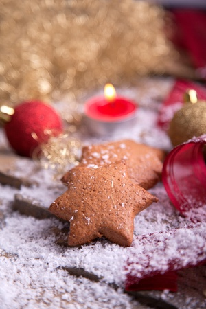 delicious homemade gingerbread star cookies with tealight for christmas athomsphere Stock Photo