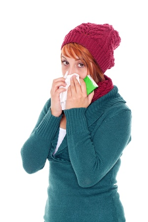 mucus: young woman with handkerchief catch a cold