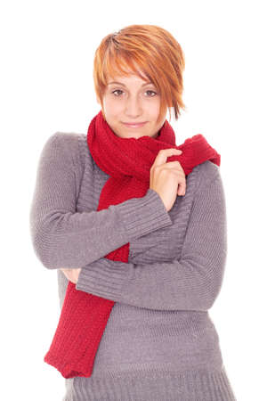red haired woman: young red haired woman with scarf on a winter day