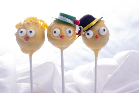 sweet yellow cakepops for children birthday party Stock Photo