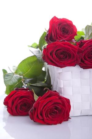 giftbasket: boeket van rode rozen in een geschenkmand Stockfoto