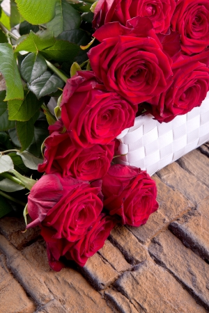 bouguet of red roses for wedding and valentines day photo