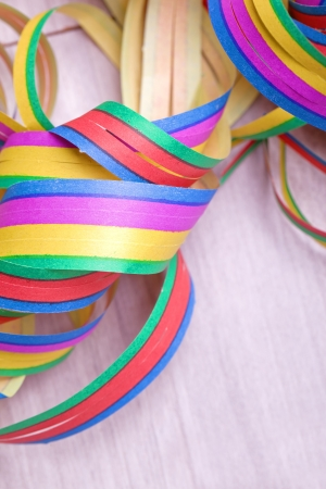 colorful streamers for carnival party in red pink blue green and yellow Stock Photo - 17536230