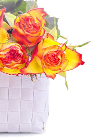 romantic bouquet of orange coloured roses as a valentines gift Stock Photo - 17758798