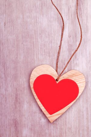 wooden heart decoratiion for valentines day and weeding  photo