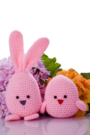 handmade pink easter bunny and chick  with flower  photo