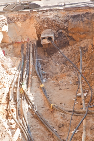 copper pipe: cable on construction side