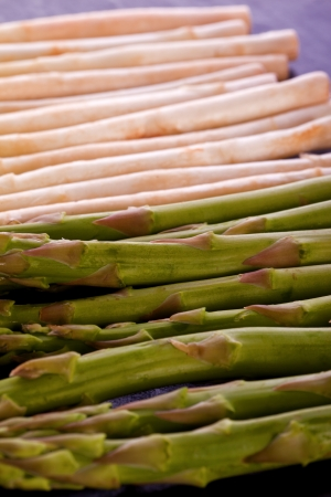 bunch of white and green fresh healthy asparagus Stock Photo - 18998936
