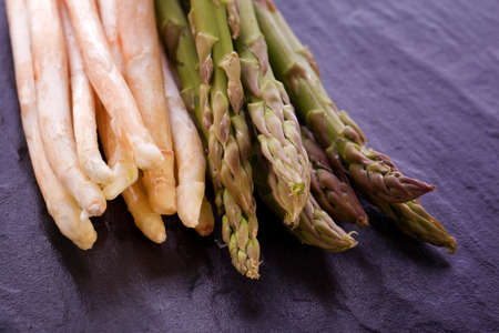 bunch of white and green fresh healthy asparagus Stock Photo - 19246909
