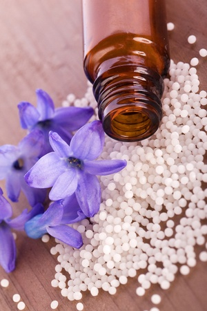 globule: natural homeopathic globule with hyacinth flower