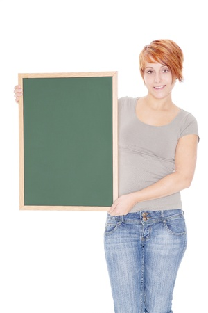 young woman holding a chalkboard photo