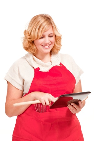 female chef cook using a tablet computer
