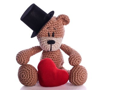 stovepipe hat: teddy bear with stovepipe and heart pillow