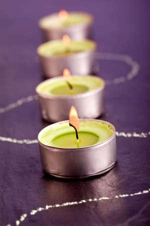 green tea candle spa decoration  photo