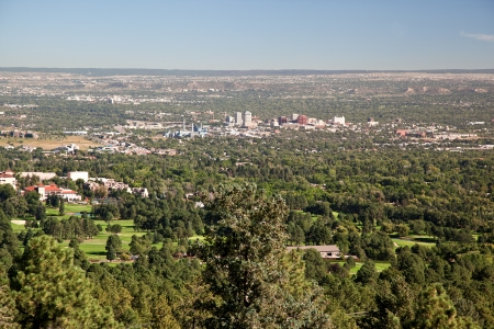 colorado skyline: high view over colorado spings