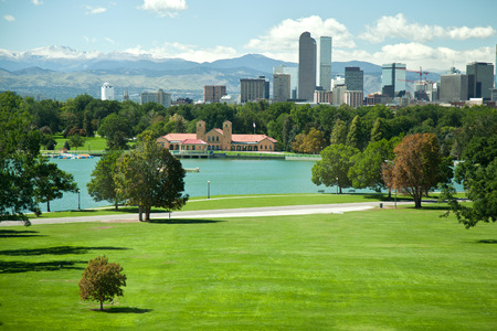 city park skyline: View on denver skylight in fall Stock Photo
