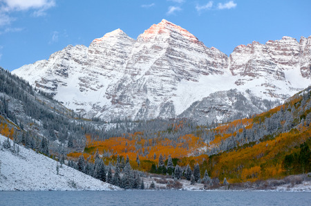 aspen leaf: Snow Covered maroon bells Mountains with Golden Aspen Trees