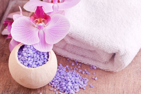 bath salt beauty spa with orchid flower and towel