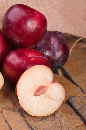 fresh red plums healthy sweet summer fruit ingredient