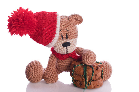 brown teddybear with christmas cookies , hat and scarf Imagens