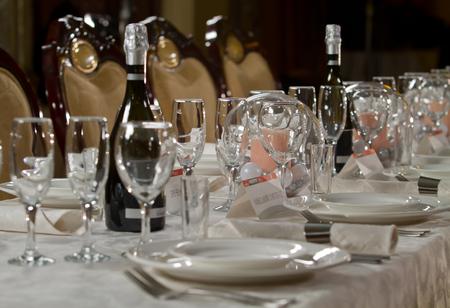 Fine Crystal Table Setting at a Restaurant Banco de Imagens