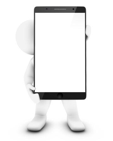 3D Little man holding a smartphone