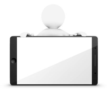 3D little man stands behind a smartphone