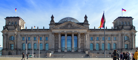 Reichstag with people, Berlin. Spring