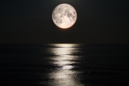 Moon, Sea, Full Moon, Sky, Moonlight
