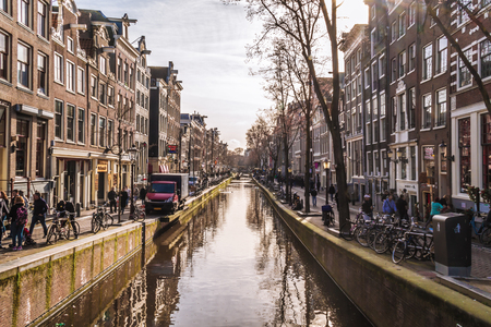 Channels of Amsterdam. Typical Amsterdam architecture. Urban space in the spring