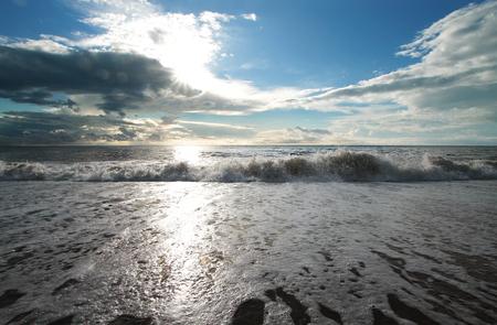 Evening sea under the blue sky