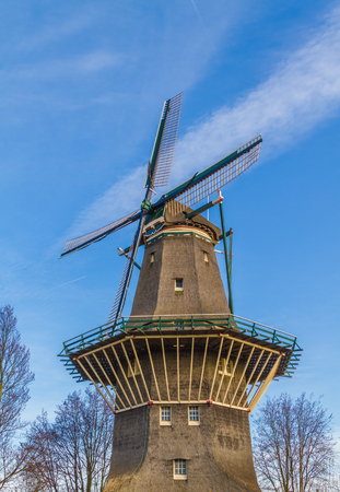 Traditional Netherlands windmill in Amsterdam