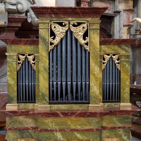 Small Church Organ, Prague, Czech Republic. Banco de Imagens