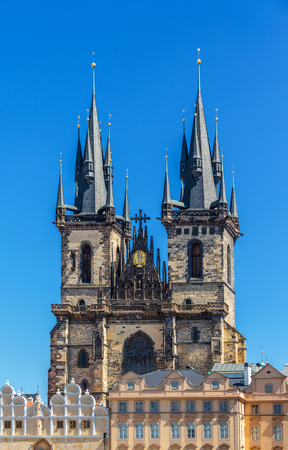Church of Our Lady before Tyn Chram Matky Bozi pred Tynem . Czech Republic, first Gothic building in Bohemia, about the year 1230, today there is the National Gallery Stock Photo