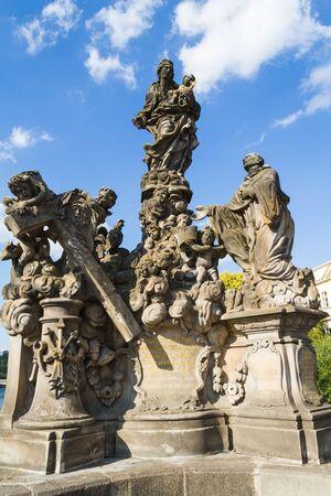 Charles Bridge statues in Prague. The Virgin with Saint Bernard by Matthias Wenzel Jackel.