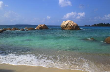 granit: Strand Anse Lazio, Praslin, Seychellen, Afrika, Indischer Ozean