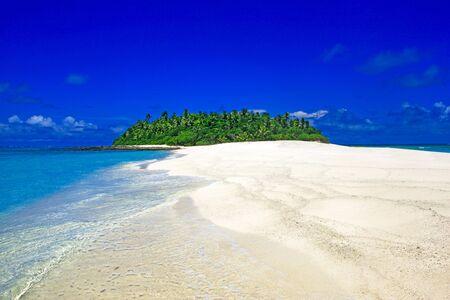 Tropical Island with a paradise beach and palm trees, Fiji Islands