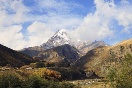 Mount Kasbek in the Greater Caucasus, Georgia, Asia