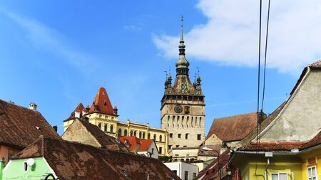 The Clock Tower in the City of Sighisoara in Romania, Europe 免版税图像