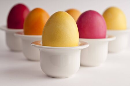 six colored easter eggs with short DOF