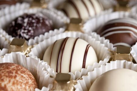 chocolate pralines close up