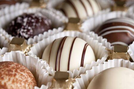 pralines: chocolate pralines close up
