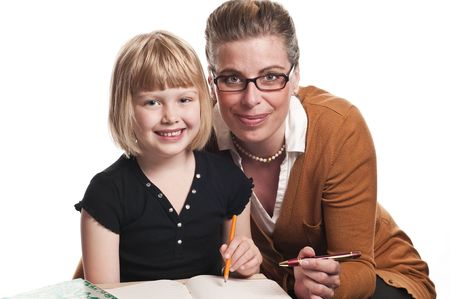 A teacher tutors a child on white background