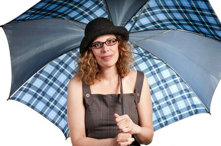 Woman carrying an umbrella on white background