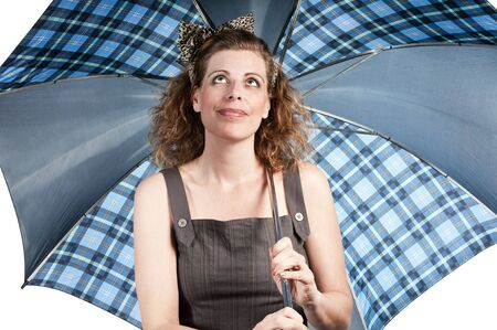 Woman with umbrella on white background
