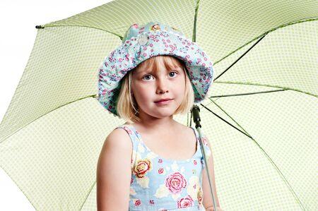 meisje met paraplu op witte achtergrond